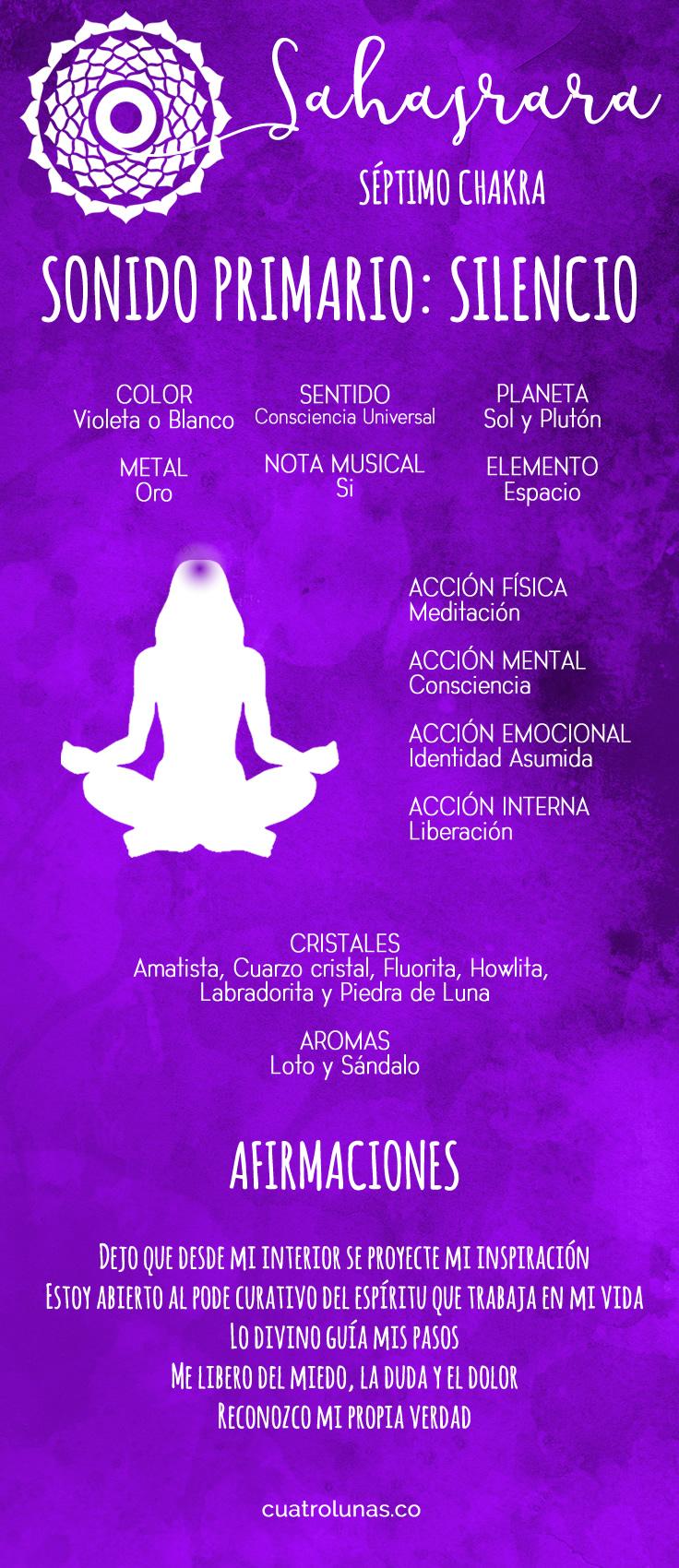 Cómo armonizar el séptimo chakra – Sahasrara | Cuatro Lunas